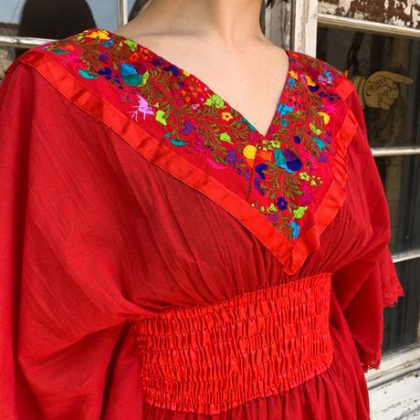 VINTAGE メキシコ刺繍ウエストギャザーチュニック[9244]