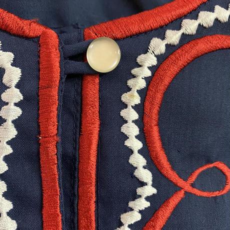 1970'S VINTAGE「CHUCHI」フィリピン刺繍シャツ (NAVY×RED) [9032]