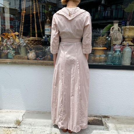1930-40s Antique セーラーカラーデザインコットンロングドレス (pink overdyed) [2131]