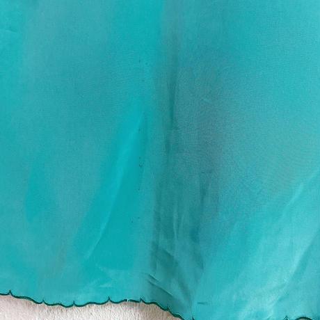 1970s vintage ターコイズブルー チャイナ刺繍 ガウン[9609]