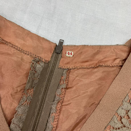 1950〜60'S VINTAGE 総レースワンピース(PINK × BROWN)[7043]