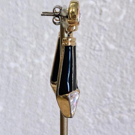 1970 S.A.L(vintage SWAROVSKI) 黒エナメルにラインストーン ドロップ型ピアス[0168]