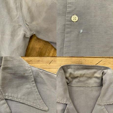 euro vintage スモークブルー リネン シャツ [8904]