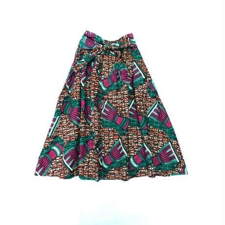 アフリカンファブリック ウエストリボンスカート(RED) [7093]
