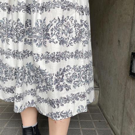 1950〜60'S  VINTAGE ペイント風ボタニカル柄 サーキュラースカート[9991]