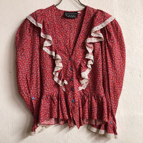 1980'S VINTAGE お花柄フリルブラウス(RED)[7127]