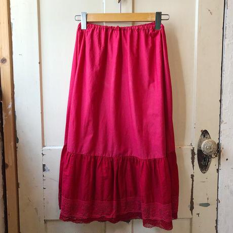 EURO vintage お花モチーフカットワークレース ペチコートスカート (RED overdyed) [9390]