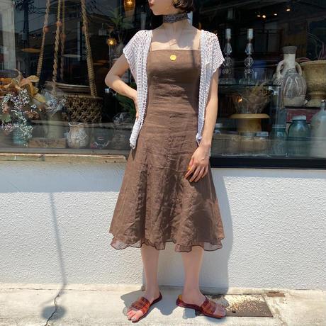 euro vintage 裾チュールデザイン リネンワンピース [9038]