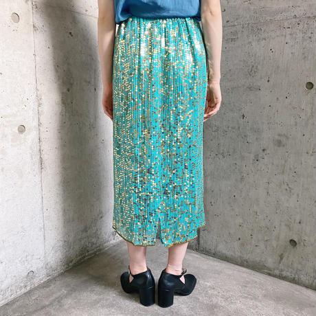 1980s vintage ターコイズ スパンコールデザイン シルクスカート[7920]