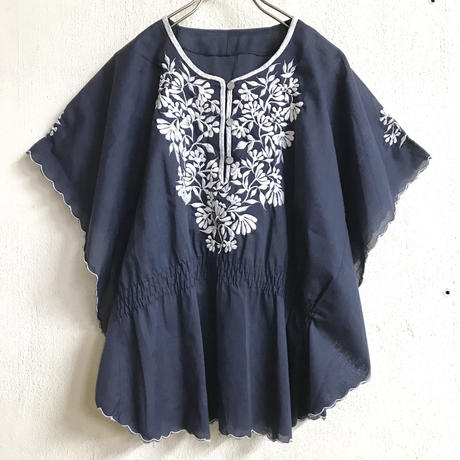 VINTAGE フィリピン刺繍フレンチトップス(NAVY)[7168]