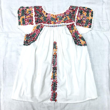 1970'S VINTAGE メキシコサンアントニオ刺繍トップス(WHITE)[7065]