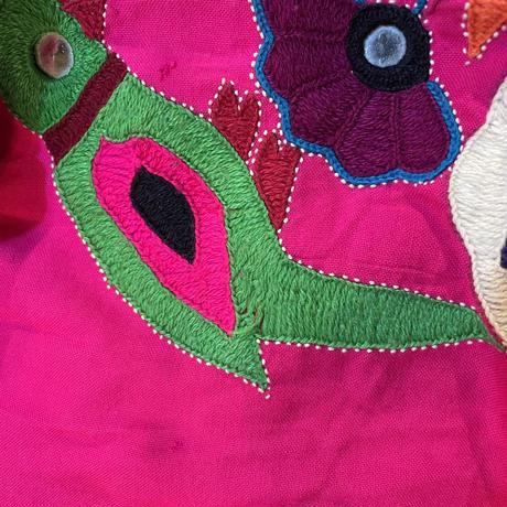VINTAGE インドミラーワーク刺繍 ボリューム スカート ピンク [9846]