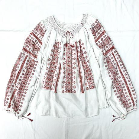 1950〜60'S VINTAGE ルーマニア刺繍チュニック (WHITE)  [7055]