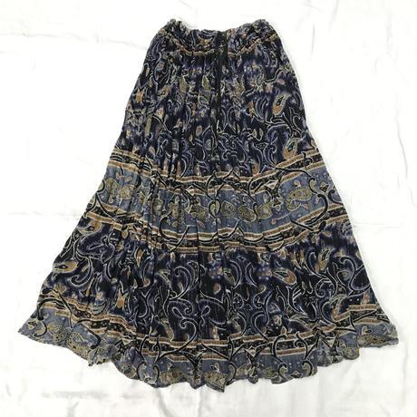 インド綿ラメ糸入りペイズリー柄スカート(NAVY)[7056]