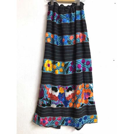 VINTAGE メキシコ刺繍マキシ丈スカート(BLUE×BLACK)[7153]