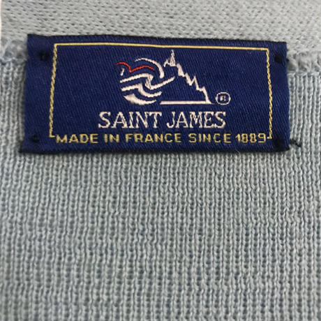 """SAINT JAMES"" ライトブルー ウールニットカーディガン[8567]"