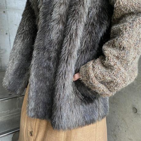 vintage ニット&フェイクファーコート[8409]