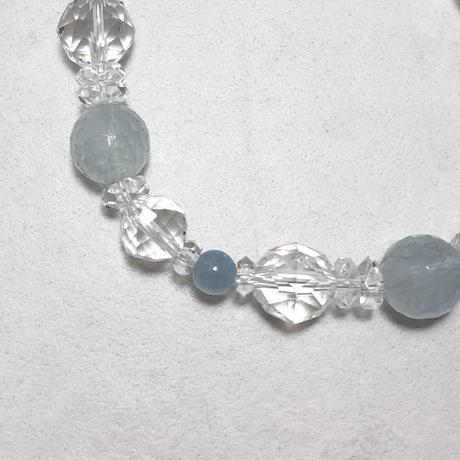 アクアマリン、水晶ブレスレット No.18761