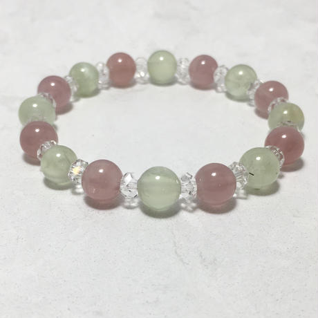 プレナイト、紅水晶、水晶 ブレスレット No.18805