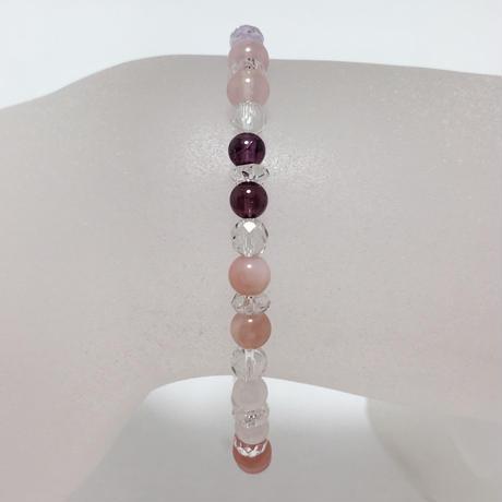 水晶、インカローズ、天然石ブレスレット No.18730