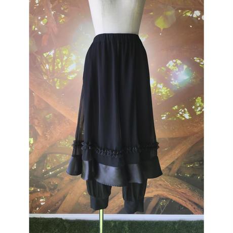 【数量限定】姫スカート on パンツ / ブラック