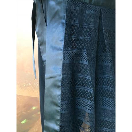 【数量限定】ボーダーレース巻きスカートonパンツ / ブラック