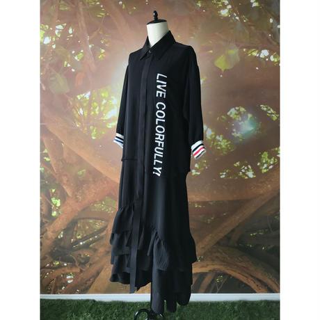 【数量限定】カラフリーロゴ シャツドレス / ブラック