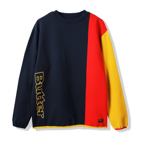 BUTTER GOODS TRES CREWNECK, NAVY / RED / YELLOW