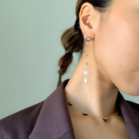 moonstone & pearl long pierce/ earring