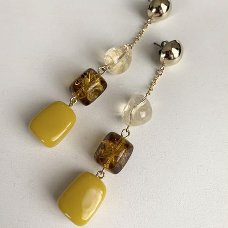 Yellow & brown long pierce / earring