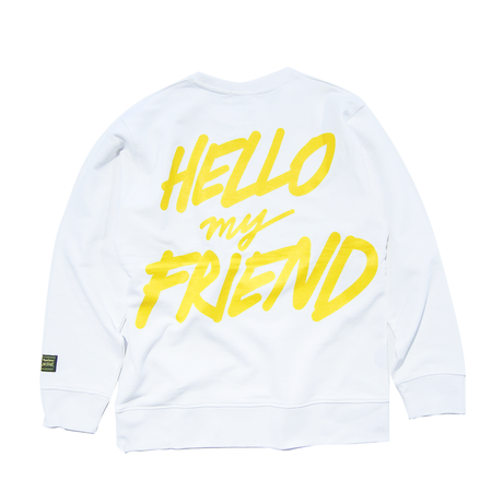 HELLO MY FRIEND CREWNECK (WHITE) : STEPHEN PALLADINO【CC0009】