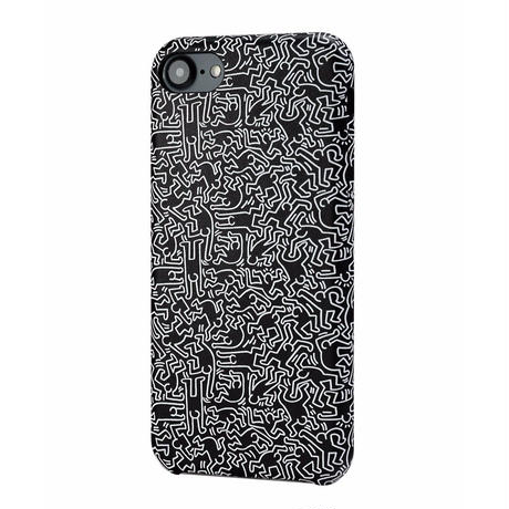 Keith Haring Collection PU Case for iPhone 7 (People/Black × White)【KH-006】