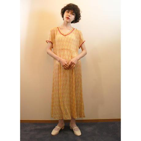 Yellow chiffon floral dress