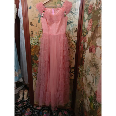 1950s vintage  dreamy pink tulle long dress