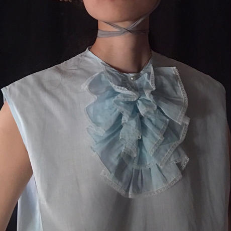Ruffle pale blue cotton blouse