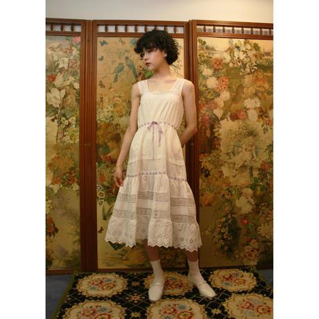 Antique cotton dress  with purple ribbon