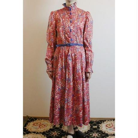 1970s Red Floral Dress