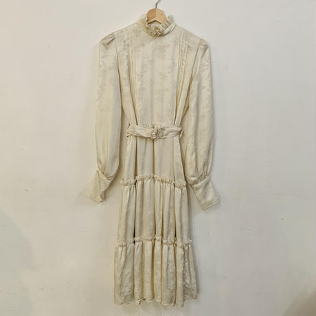 1970s Chinese print ivory satin dress