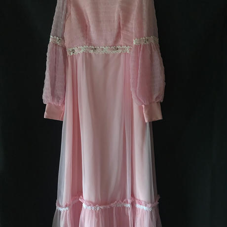 vintage pink chiffon dress with amazing sleeves