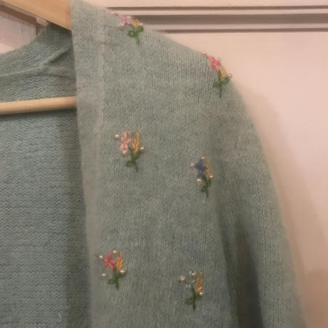 Embroidered Mint Green Cardigan
