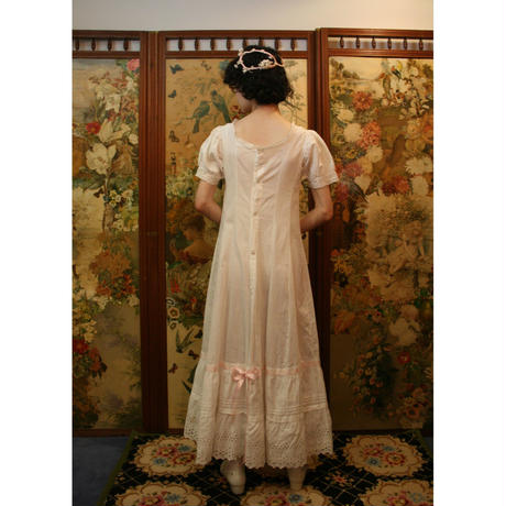 Victorian  cotton dress with pink ribbon
