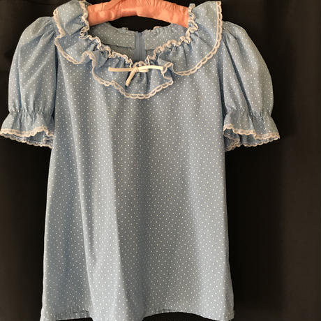 blue dotted frill blouse