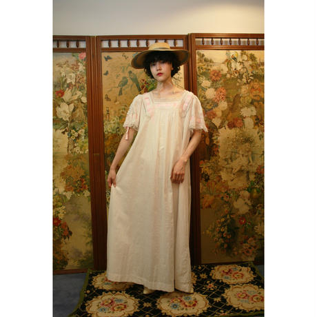 Antique cotton nighty with pink ribbon