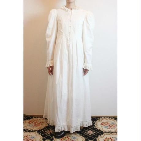 1970s Victorian Style Cotton Gown