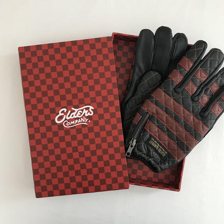 Leather glove / Bright red x Black