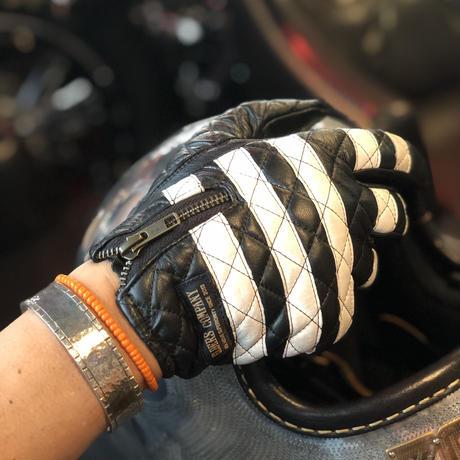 Leather Glove / White xBlack 白×黒 囚人グローブ