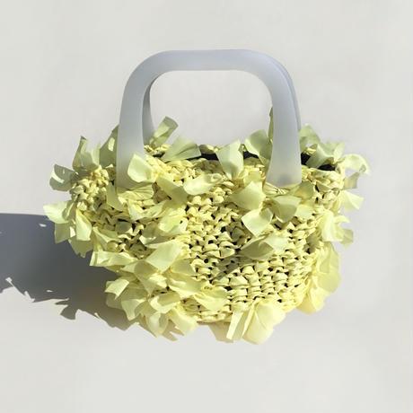 basket bag / yellow × white