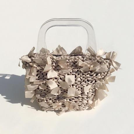 basket bag / fabric:beige × handle:clear