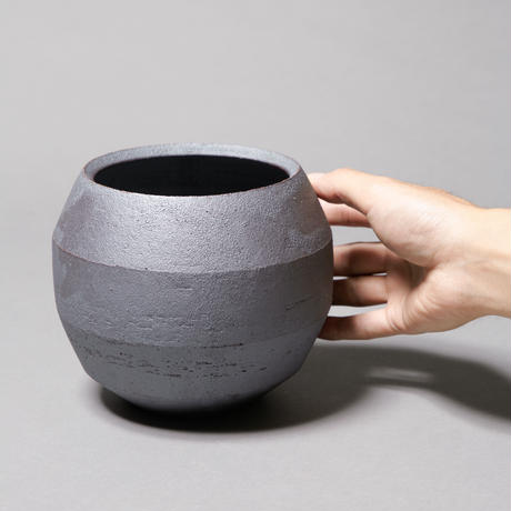 Flat bowl pot(Gray black)