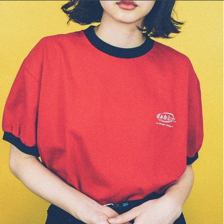 small logo linger tee (red)